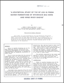 Statistical Study of the SP Log in Fresh Water Formations of Wyoming's Bighorn and Wind River Basins (1975)
