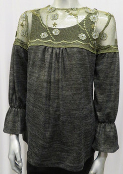 Style # 642 Peasant style metallic sweater