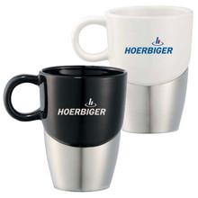 Double Dipper Ceramic Mug w/ Stainless Steel Base