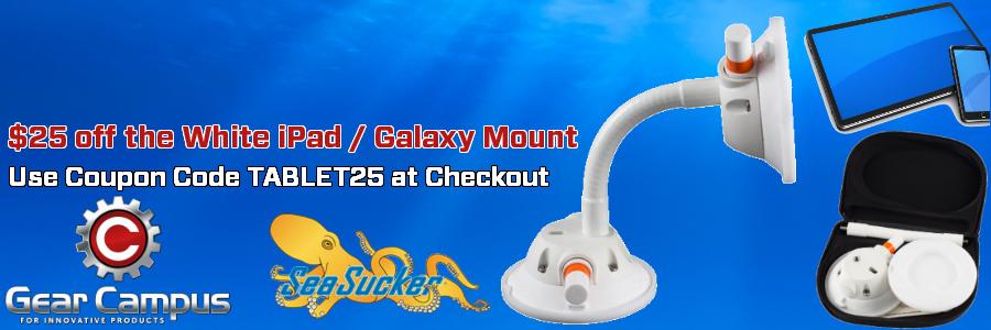 SeaSucker $25 off the white iPad / Galaxy Mount Promotion