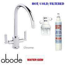 Water Gem II Filter System with Abode 3-Way Mixer / Filter Tap - Atlas Style - Chrome