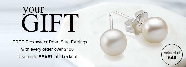 Free Pearl Earrings Gift