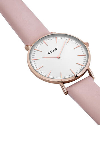 Cluse La Bohème Rose Gold White Pink Womens Leather Watch CL18014