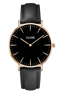 Cluse La Bohème Rose Gold Black Black Womens Leather Watch CL18001