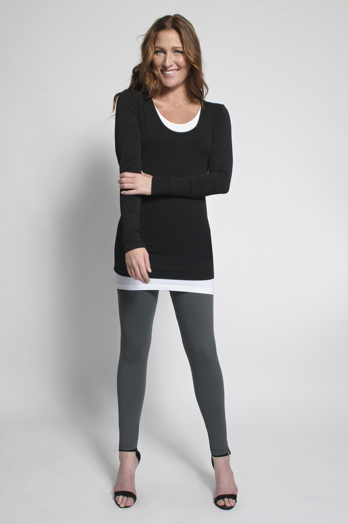 Charcoal Leggings (shown with Layering Tank Top in White & Layering Long Sleeve Top in Black)