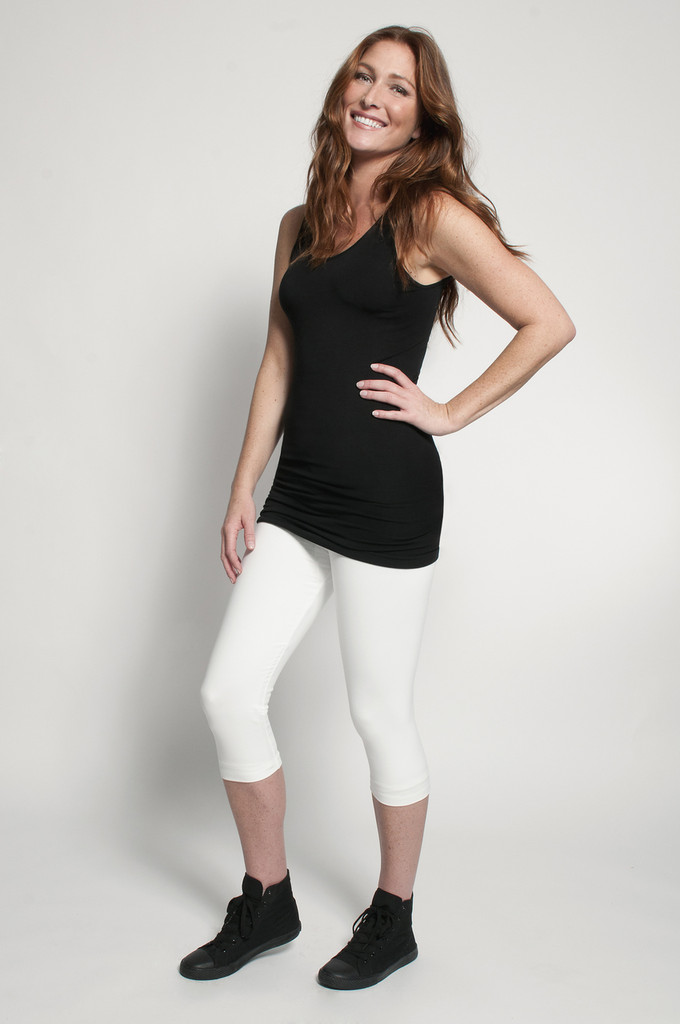 White Capris (shown with Layering Tank Top in Black)