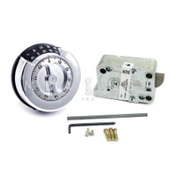 LP PREMIER REDUNDANT LOCK PKG BRIGHT CHROME FINISH, 4 WHEEL COMBINATION LOCK GP 2M