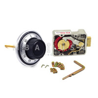"""3-WHEEL LOCK, DIAL & RING, FRONT READING, SATIN CHROME, 3.5"""" DOOR THICKNESS"""