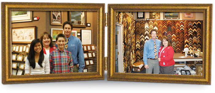 Landscape Double Hinge Picture Frame, Hand Gilded Distressed Antique Gold Leaf, horizontal orientation, gold hinges and velour door back.