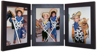 Portrait Triple Hinged Wood Picture Frame, vertical orientation, black finish with silver hinges.