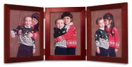 Triple Hinged Mahogany Finish Wood Picture Frame, Vertical (Portrait) orientation, with silver hinges.