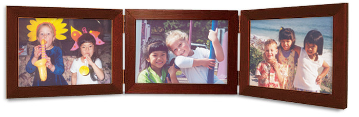 Triple Hinged Mahogany Finish Wood Picture Frame, Horizontal (Landscape) orientation, with silver hinges.