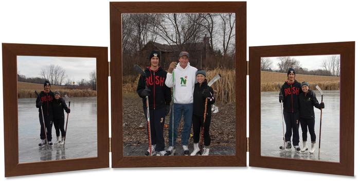 Triple Hinge Vertical (Portrait) Picture Frame, 2 frame sizes - Walnut Finish
