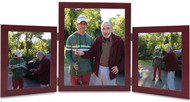 Triple Hinged Mahogany Finish Wood Picture Frame, Vertical (Portrait) orientation, 2 frame sizes, with silver hinges.