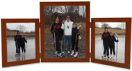 Triple Hinged Vertical (Portrait) Wood Picture Frame,  2 frame sizes, Fruitwood Finish