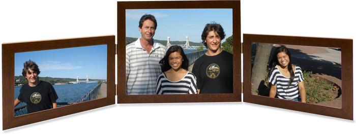 Triple Hinge Horizontal (Landscape) Picture Frame, 2 frame sizes - Walnut Finish
