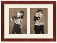 SlimLine Collage Portrait Wall Wood Frame with Mahogany Finish, 2-openings