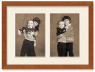 SlimLine Collage Portrait Wall Wood Frame with Fruitwood Finish, 2-openings