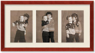 SlimLine Collage Portrait Wall Wood Frame with Cherry Finish, 3-openings