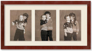 SlimLine Collage Portrait Wall Wood Frame with Mahogany Finish, 3-openings