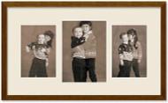 SlimLine Collage Portrait Wall Wood Frame with Walnut Finish, 3-Multi size openings