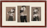 SlimLine Collage Portrait Wall Wood Frame with Mahogany Finish, 3-Multi size openings