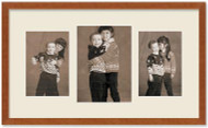 SlimLine Collage Portrait Wall Wood Frame with Fruitwood Finish, 3-Multi size openings