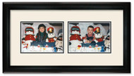 Deluxe Black landscape 2-opening collage frame with off white double mat