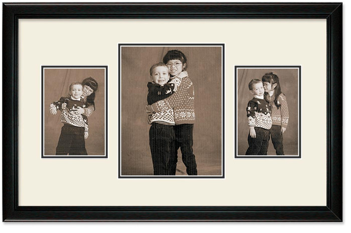 Deluxe Black Collage frame, 3-openings, 2 sizes with off white double mat