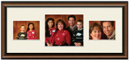 Two Toned Walnut finish Collage frame, 3-openings, 2 sizes with off white mat