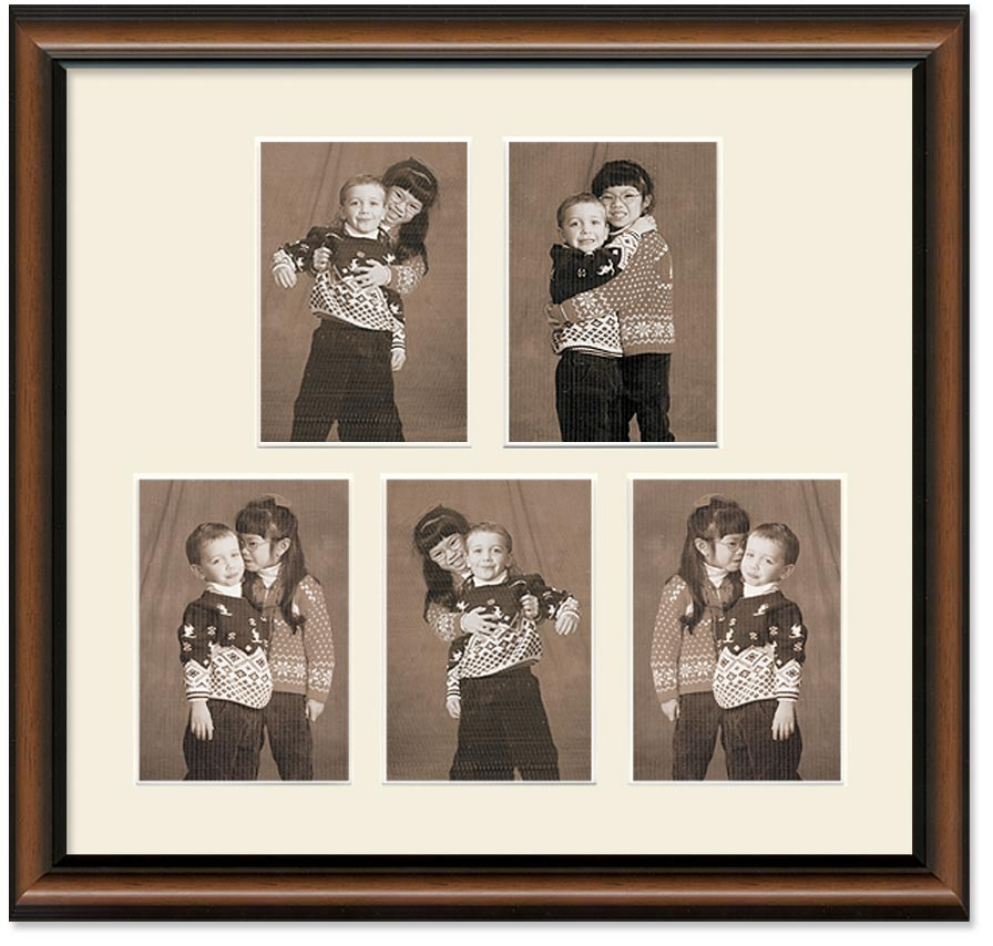 Two Toned Walnut Finish Portrait Collage Wall Frame 5