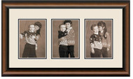 2-Toned Walnut finish collage frame 3-openings double off white mat