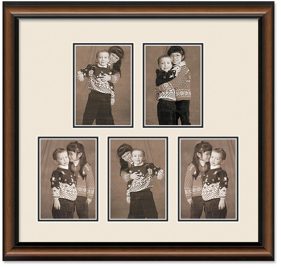 Two Toned Walnut Finish Portrait Collage Wall Frame