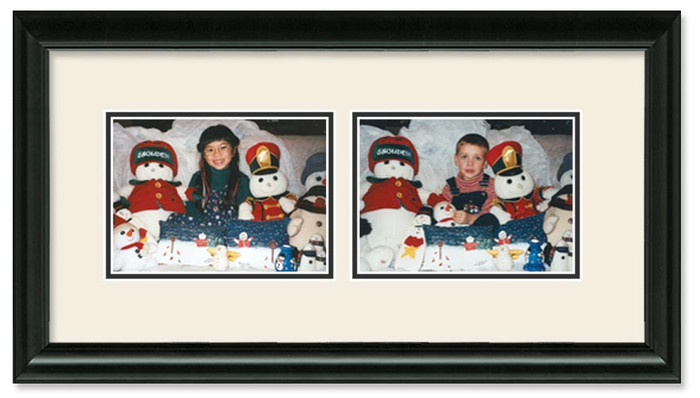 Traditional Black landscape 2-opening collage frame with off white double mat
