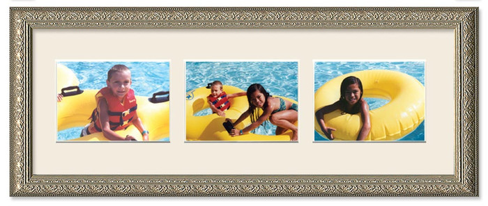 Imperial Silver landscape 3-opening collage frame with off white mat