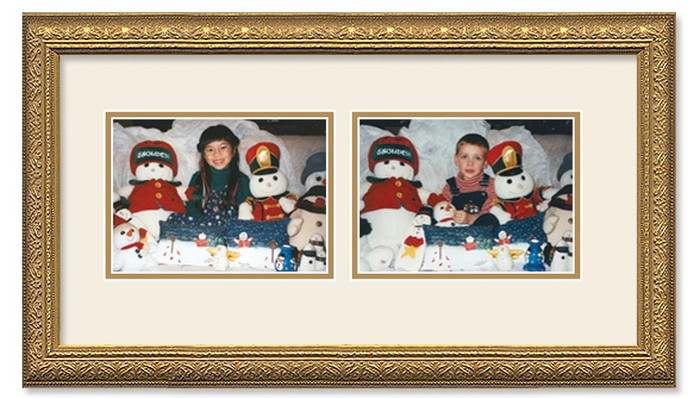 Imperial Gold collage frame with 2-horizontal openings and double off white mat