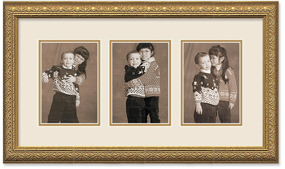 Imperial Gold Portrait Collage Wall Frame Double Mat 3