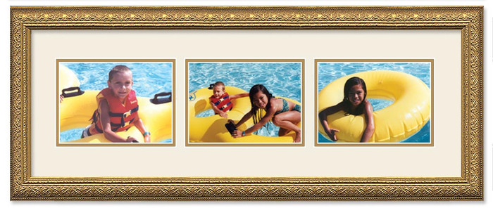Imperial Gold landscape collage frame, 3-openings with double off white mat
