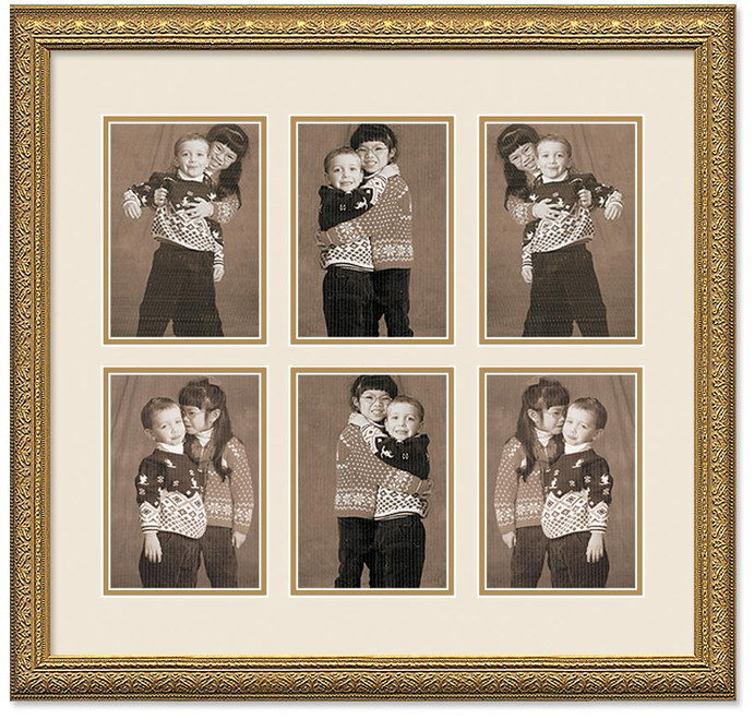 Imperial Gold Portrait Collage Wall Frame, Double Mat, 6- Openings ...