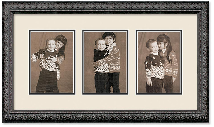 Imperial Black collage frame 3- Openings with double off white mat