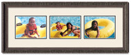 Ornate Black Landscape collage frame, 3-openings with off white double mat