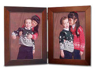 Mahogany Finish  3.5x5 Vertical Double Hinge Picture Frame