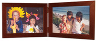 Double Hinge 5x5 Mahogany Finish Wood Picture frame, (Display Image is 7x5)