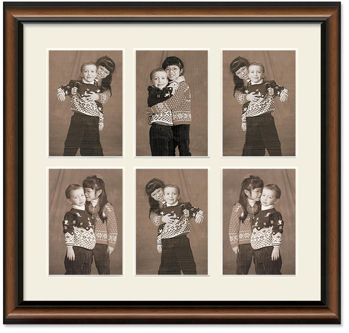 Two Toned Walnut Portrait Collage Wall Frame, 6- Openings for 5x7 Pictures (Off White Mat)