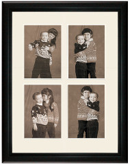 Deluxe Black Collage Wall Frame, 4- Openings for 6x8 pictures, 2-Rows, Off White Mat