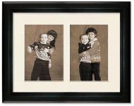 Deluxe Black Portrait Collage Wall Frame, 2- Openings for 6x8 Pictures, Off White Mat
