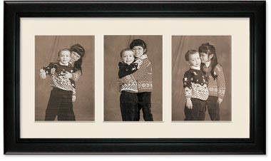 Deluxe Black Portrait Collage Wall Frame, 3- Openings for 6x8 Pictures, Off White Mat