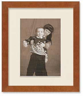 Fruitwood Finish Wood Frame with Single Mat for 6x8 Picture, Off White Mat
