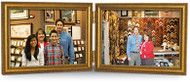 10x8 Double Hinged Landscape Antiqued Gold Wood Frame