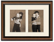 Two-Toned Walnut Portrait Collage Frame, Single Mat, 2-Openings for 8x10 Pictures, Off White Mat